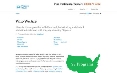 Screenshot of About Page phoenixhouse.org - About Us | Phoenix House - captured Aug. 19, 2019