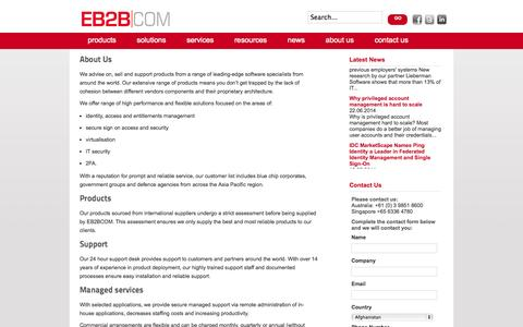 Screenshot of About Page eb2bcom.com - about us - EB2BCOM - captured Sept. 26, 2014
