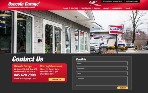 Screenshot of Contact Page osceolagarage.com - Contact - captured Sept. 30, 2014