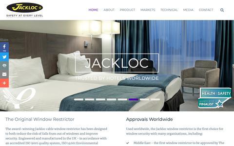 Screenshot of Home Page jackloc.com - Cable Window Restrictors, Stoppers & Safety Locks | Jackloc® - captured Nov. 14, 2018