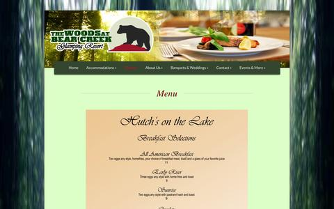 Screenshot of Menu Page thewoodsatbearcreek.com - Menu - The Woods at Bear Creek - The Woods at Bear Creek - captured Nov. 5, 2014