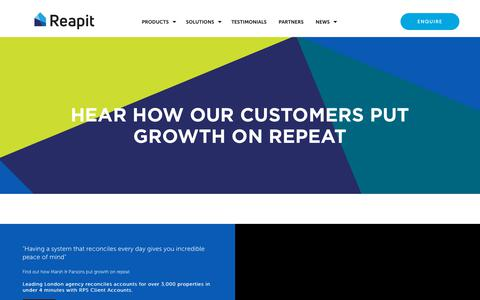 Screenshot of Testimonials Page reapit.com - Hear how our customers put growth on repeat   Testimonials   Reapit - captured Sept. 23, 2018