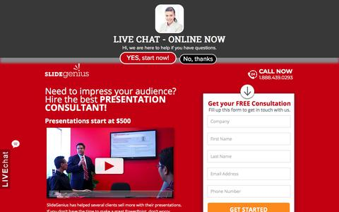 Screenshot of Landing Page slidegenius.com - PowerPoint Presentation Consultants | Speak With One Today - captured March 21, 2018