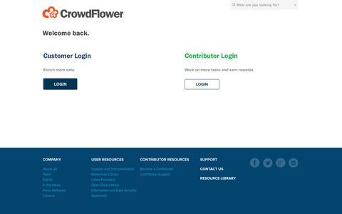 Screenshot of Login Page crowdflower.com - Login - captured Sept. 13, 2014