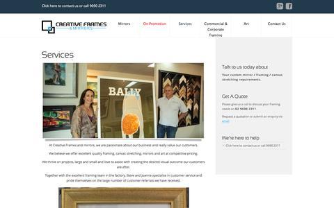 Screenshot of Services Page creativeframes.com.au - Services - Creative Frames - captured Jan. 31, 2016