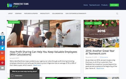 Screenshot of Blog teamwork.com - Teamwork.com - The Productive Teams Blog - captured Jan. 5, 2017