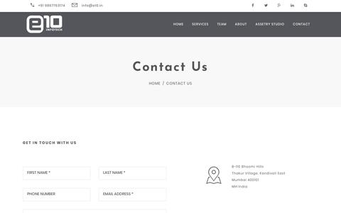 Screenshot of Contact Page e10.in - e10  - Contact Us - captured July 22, 2018