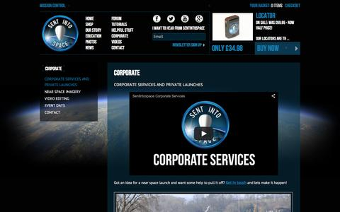 Screenshot of Services Page sentintospace.com - Corporate Services | SentIntoSpace - captured March 2, 2016