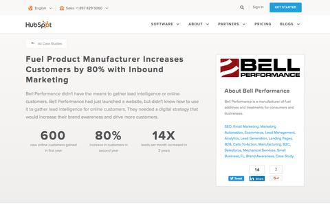 Screenshot of Case Studies Page hubspot.com - Fuel Product Manufacturer Increases Customers by 80% with Inbound Marketing - captured June 2, 2017