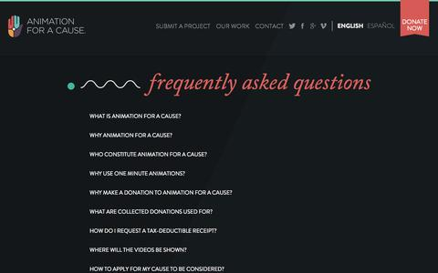 Screenshot of FAQ Page animationforacause.org - Questions- Animation for a Cause - captured Oct. 29, 2014