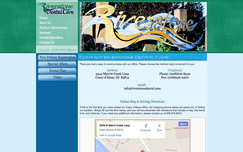 Screenshot of Contact Page Maps & Directions Page riverstonedental.com - Contact Douglas W. Pulsipher, DDS; John C. Pulsipher, DDS; Logan D. Ditto, DDS Coeur d'Alene ID - captured Oct. 26, 2014
