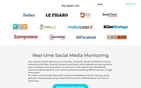 Screenshot of Home Page social-searcher.com - Social Searcher - Free Social Media Search Engine - captured Sept. 29, 2018