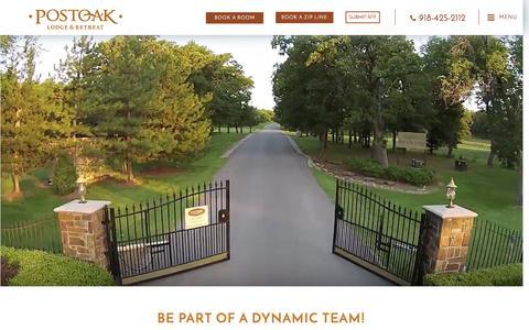 Screenshot of Jobs Page postoaklodge.com - Job Opportunities in Tulsa Oklahoma | POSTOAK Lodge & Retreat - captured Jan. 2, 2017
