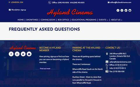 Screenshot of FAQ Page hylandcinema.com - Frequently Asked Questions |  Hyland Cinema - captured Feb. 20, 2018