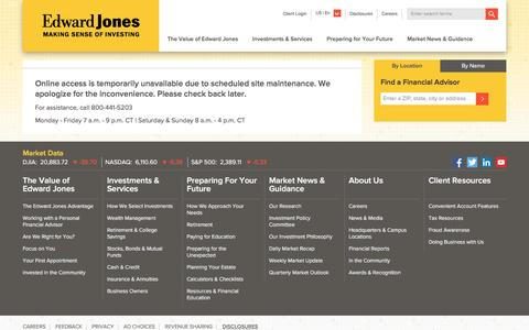 Online Access is Temporarily Unavailable | Edward Jones