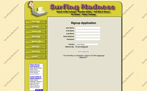 Screenshot of Signup Page surfingmadness.com - Surfing Madness - Signup Application - captured Aug. 16, 2016