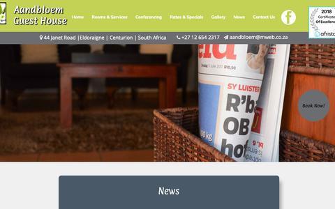 Screenshot of Press Page aandbloem.co.za - Aandbloem Guest House | Aandbloem Guest House News - captured Nov. 27, 2018