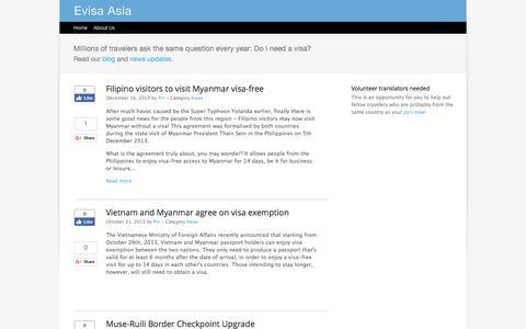Screenshot of Press Page evisaasia.com - Up-to-date Visa News | Evisa Asia - captured May 22, 2017