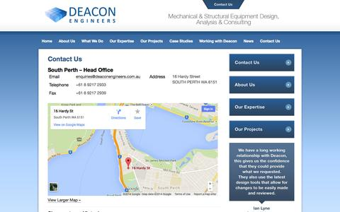 Screenshot of Contact Page Locations Page deaconengineers.com.au - Contact Deacon Engineers - Engineering Design Services - Engineering Services Perth - captured Oct. 23, 2014