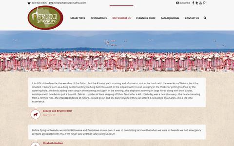 Screenshot of Testimonials Page adventuresinafrica.com - Testimonials - Africa Adventure Consultants - captured Dec. 3, 2017