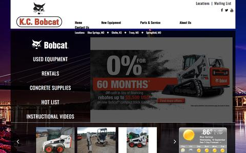 Screenshot of Home Page kcbobcat.com - Kansas & Missouri Bobcat Dealer | Skid-Steer Loaders, Excavators, Bandit Chippers Grinders Compact Equipment Rental MO & KS - captured Sept. 20, 2018