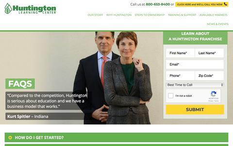 Screenshot of FAQ Page huntingtonfranchise.com - Starting a Tutoring & Test Prep Business with Huntington Franchise | FAQs - captured Jan. 23, 2018