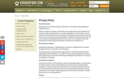 Screenshot of Privacy Page krugerpark.com - Privacy Policy| krugerpark.com - captured Aug. 23, 2016