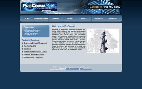 Screenshot of Home Page ptinc.org - ProComm Telecommunications, Inc. - captured Jan. 31, 2016