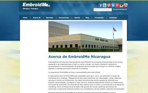 Screenshot of About Page embroidme.com.ni - Acerca de | EmbroidMe  | Bordados Nicaragua, Serigrafia, Promocionales, Regalos Personalizados, Impresion Textil, EmbroidMe Nicaragua - captured Oct. 2, 2014