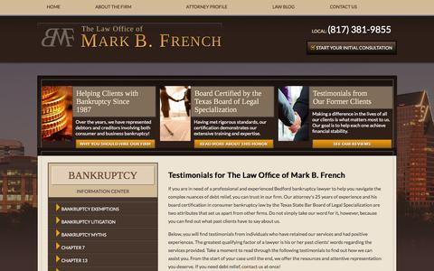 Screenshot of Testimonials Page markfrenchlaw.com - Testimonials | Bedford Bankruptcy Attorney - captured Jan. 26, 2016