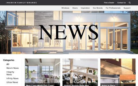 Screenshot of Press Page marvin.com - Marvin News and Media | Marvin Family of Brands - captured Sept. 29, 2017