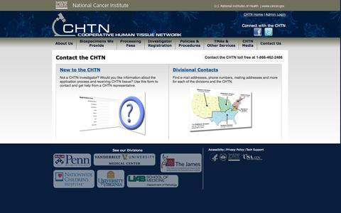 Screenshot of Contact Page nih.gov - CHTN  :: Contact the CHTN - captured Oct. 27, 2014