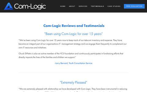 Screenshot of Testimonials Page com-logic.com - Testimonials — Com-Logic | Bringing IT and Finance Together | TEM | Telecom Expense Auditing and Management - captured Dec. 15, 2018