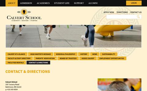 Screenshot of Contact Page Maps & Directions Page calvertschoolmd.org - Contact & Directions | Calvert School - captured April 14, 2017