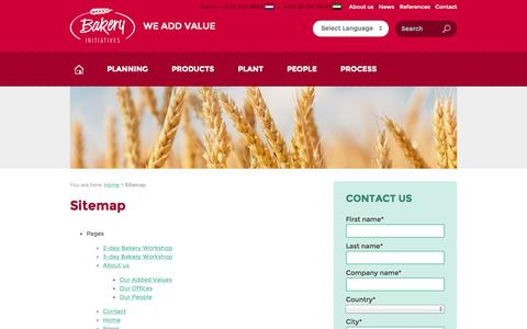 Screenshot of Site Map Page bakery-initiatives.com - Sitemap « Bakery Initiatives - captured Sept. 30, 2014