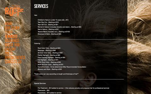 Screenshot of Services Page salonrootz.com - Salon Rootz Menu of Services | Salon Rootz - captured Oct. 4, 2014