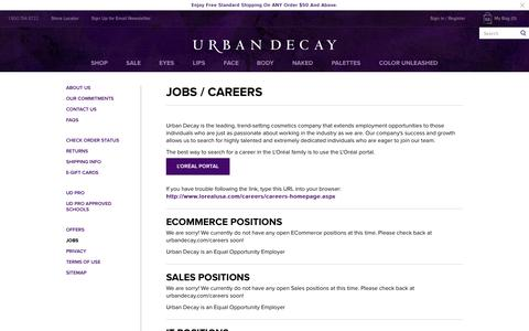Screenshot of Jobs Page urbandecay.com - Jobs / Careers | Urban Decay - captured Oct. 26, 2014