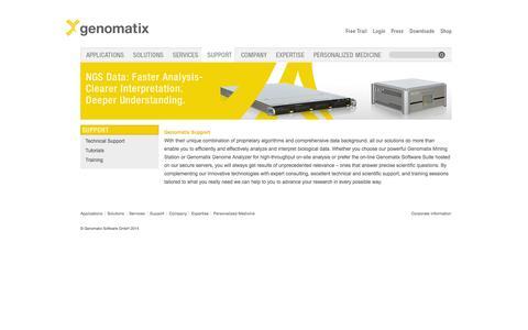 Screenshot of Support Page genomatix.de - Genomatix Support - captured Sept. 29, 2014