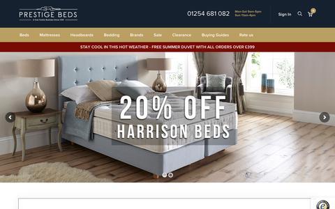 Screenshot of Home Page prestigebeds.co.uk - Prestige Beds - Mattresses for sale, Divan Beds & Bed Frames from Hypnos, Dunlopillo - captured July 21, 2018