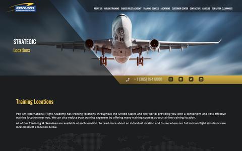 Screenshot of Locations Page panamacademy.com - Training Locations | Pan Am International | Flight Academy Type Ratings, Boeing 737, A320, Flight Attendant, Dispatcher, ATP-CTP Training - captured Sept. 26, 2018
