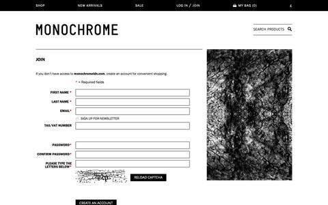 Screenshot of Signup Page monochromeldn.com - Create New Customer Account - captured Oct. 18, 2018