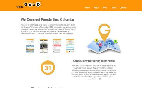 Screenshot of About Page watzzgood.com - watzzGOOD - We Connect People thru Calendar - captured Feb. 13, 2016