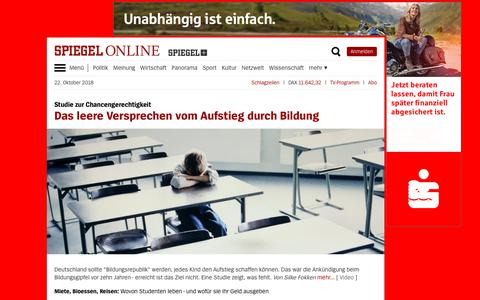 Screenshot of Home Page spiegel.de - SPIEGEL ONLINE - Aktuelle Nachrichten - captured Oct. 22, 2018