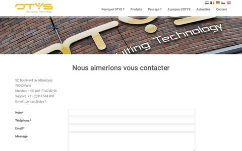 Screenshot of Contact Page otys.fr - OTYS France - captured Aug. 20, 2019
