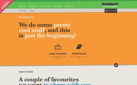 Screenshot of Case Studies Page digeratisolutions.com.au - Our Portfolio | Web Design | Digerati Solutions - captured Oct. 27, 2014