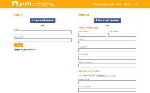 Screenshot of Signup Page yum.co.ke - Login  | Yum Kenya - captured Oct. 27, 2014