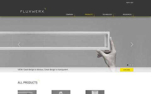 Screenshot of Products Page fluxwerx.com - All Products - captured Oct. 6, 2014