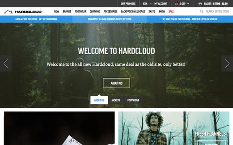Screenshot of Home Page hardcloud.com - Buy streetwear, surf & skate clothing, music fashion, skate shoes online  | hardcloud.com - captured Oct. 14, 2015