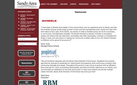 Screenshot of Testimonials Page sandychamber.com - Testimonials | Sandy Area Chamber of CommerceSandy Area Chamber of Commerce - captured Oct. 4, 2014