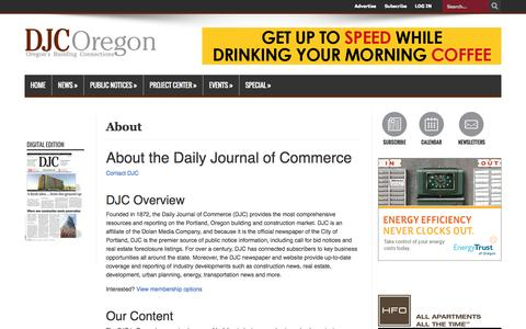 Screenshot of About Page djcoregon.com - About | Daily Journal of Commerce - captured Sept. 25, 2014